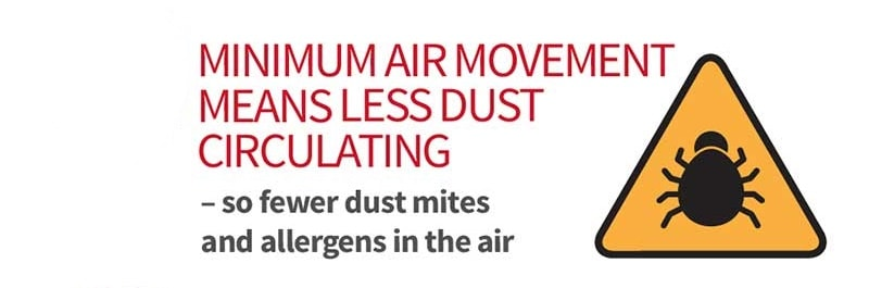 improve air quality and less dust with underfloor heating